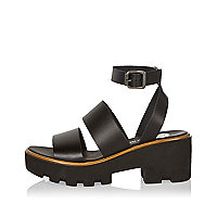 Black leather thick strappy platform sandals