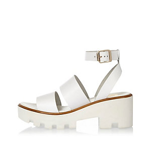 White leather thick strappy platform sandals