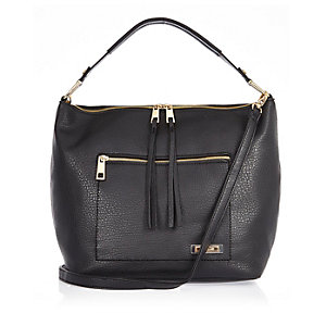 Black textured slouchy handbag