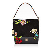 Black floral embroidered slouch handbag