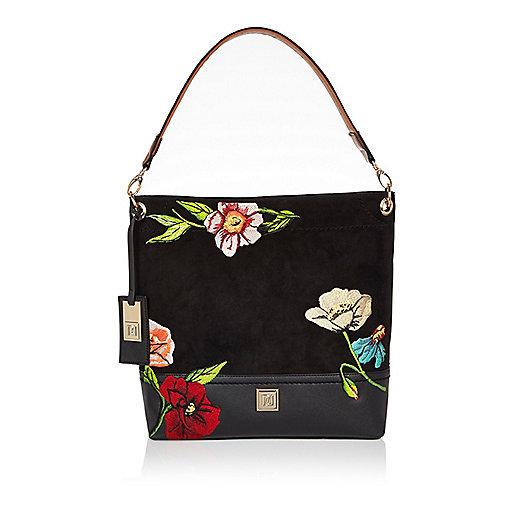 Black floral embroidered slouch handbag