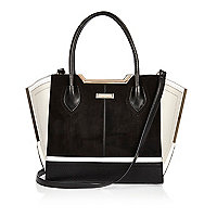 Shopping Bag aus Wildleder in Schwarz und Weiß