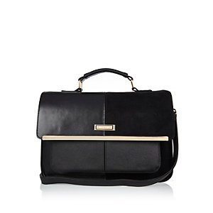 Black panel satchel handbag