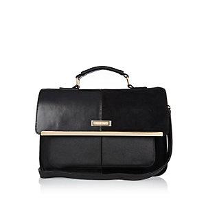 Black panel satchel handbag