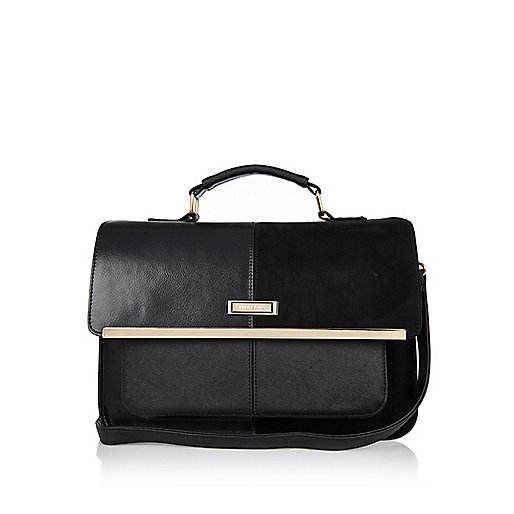 Black panel satchel bag