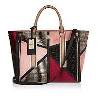 Pink patchwork winged tote handbag