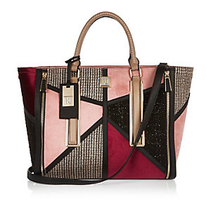 Pink patchwork winged tote handbag