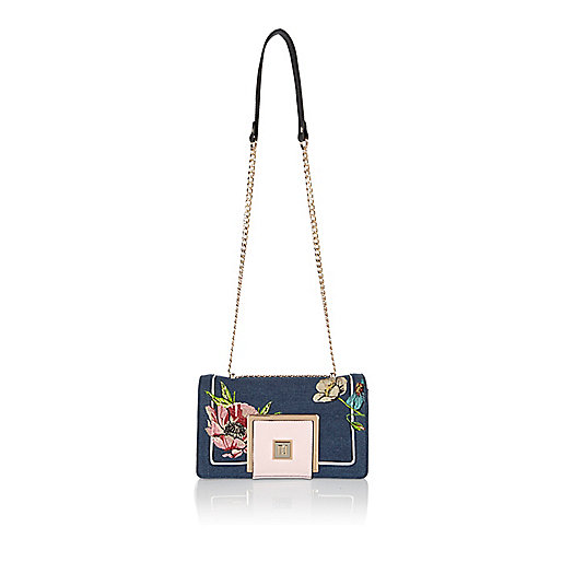 Blue embroidered chain handbag