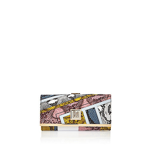 Navy snake print panel clip top purse