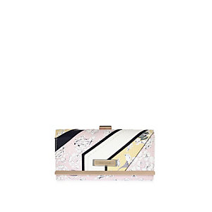 Pink floral print clip top purse
