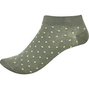 Khaki spotted trainer socks