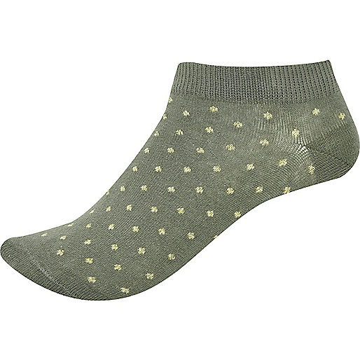 Khaki spotted trainer socks