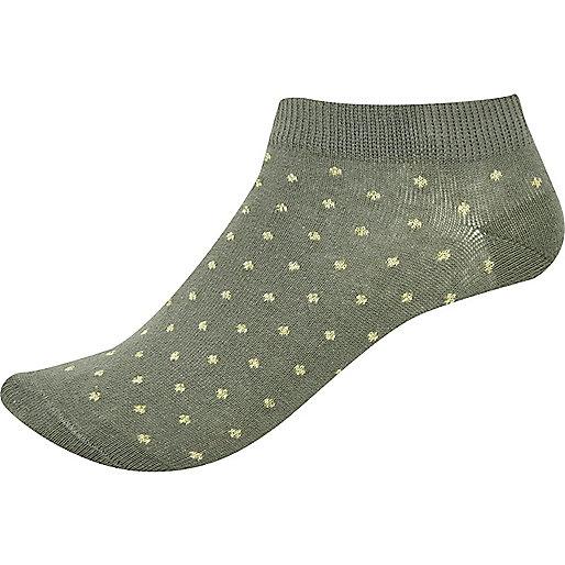 Khaki spotted sneaker socks