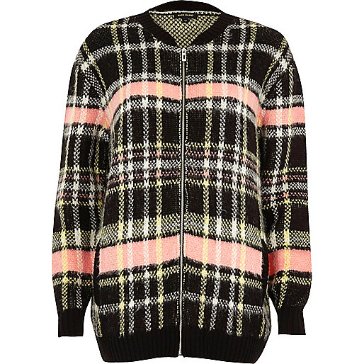 Black checked oversized bomber