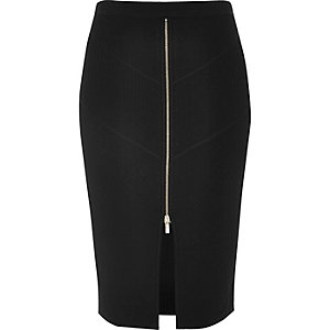 Black zip stretch knit pencil skirt