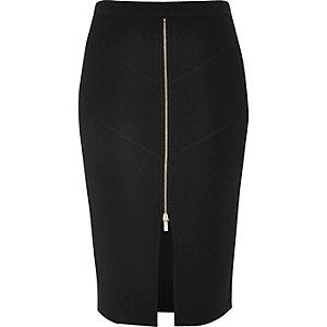 Black zip stretch knit pencil skirt