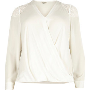 Plus white lace shoulder wrap blouse