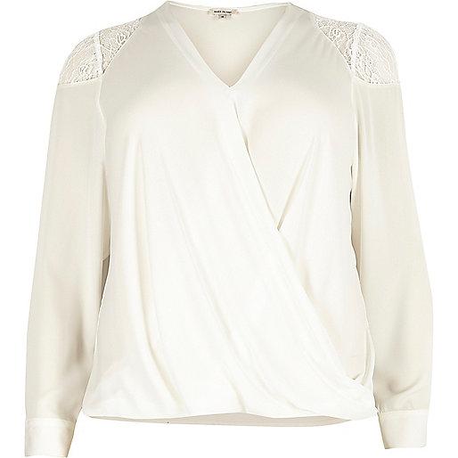 RI Plus white lace shoulder wrap blouse
