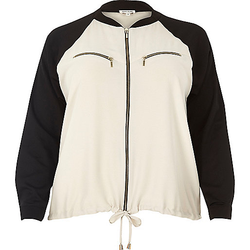 Plus beige lightweight bomber jacket