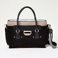 Black contrast panel tote handbag