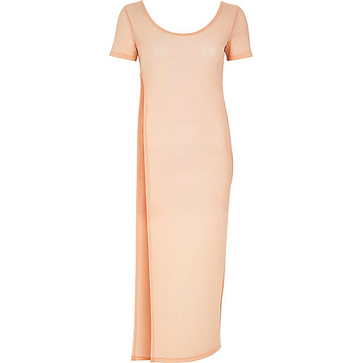 Light pink mesh T-shirt maxi dress