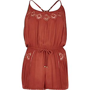 Brown lace trim romper