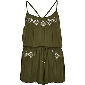 Khaki lace trim playsuit