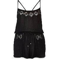 Black lace trim playsuit