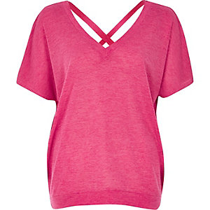 Pink knit cross back sweater