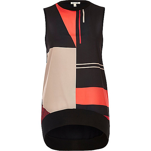 Cream color block tank top