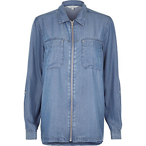 Denim zip front shacket