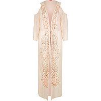 Kimono long orné rose clair