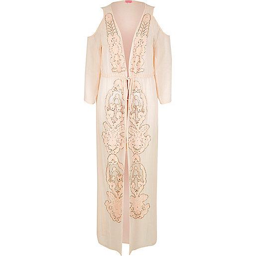 Light pink embellished maxi kimono