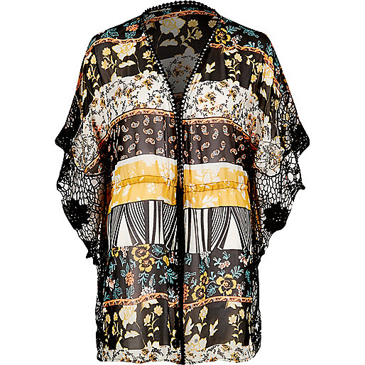 Yellow print cutwork kimono