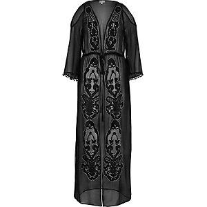 Black embellished maxi kimono