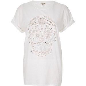 White studded skull print T-shirt