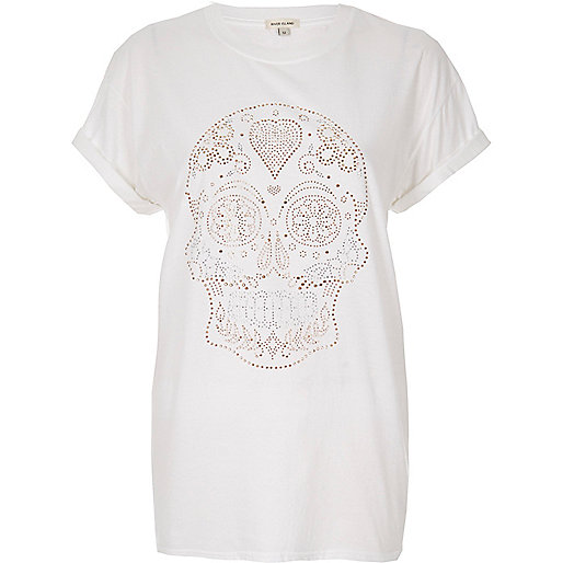 White studded skull print T-shirt