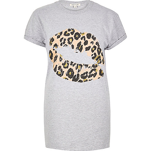Grey lip print boyfriend T-shirt