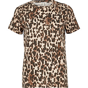 Brown animal print T-shirt