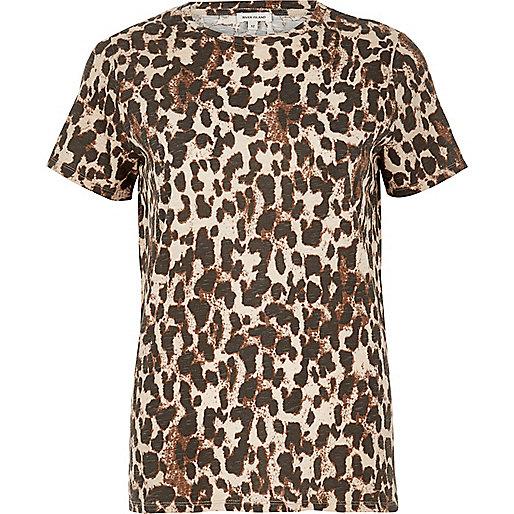 Brown animal print T-shirt