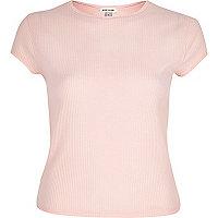T-shirt en maille côtelée rose clair style années 90s