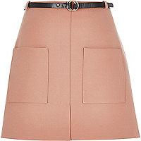 Light pink belted pocket mini skirt