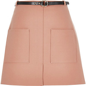 Light pink belted pocket mini skirt