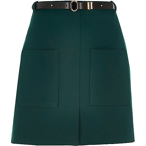 Dark green belted pocket mini skirt