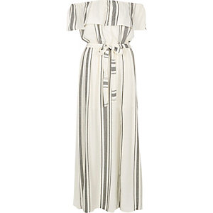 White stripe bardot maxi dress