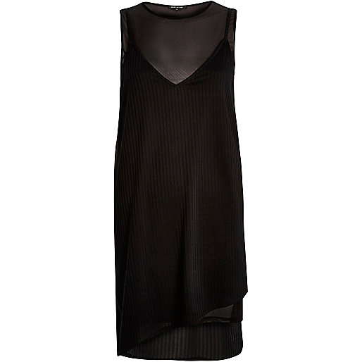 Black layered mesh jersey dress
