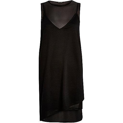 Robe en jersey et tulle superposé noire