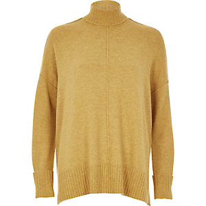 Dark yellow seam detail boxy sweater
