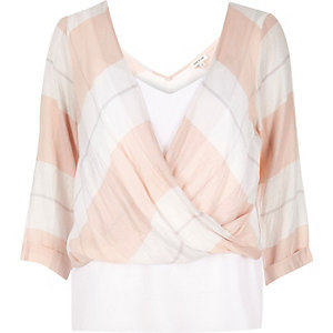 Pink checked double layer wrap blouse
