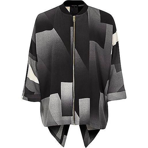 Grey print zip shirt